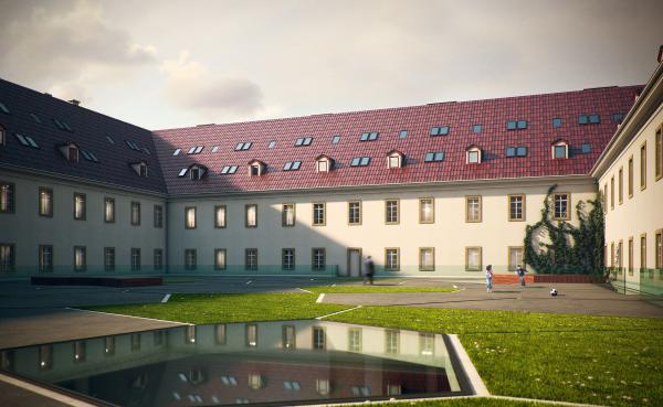 Budynek Herbapol Wadowice - projekt dziedzińca